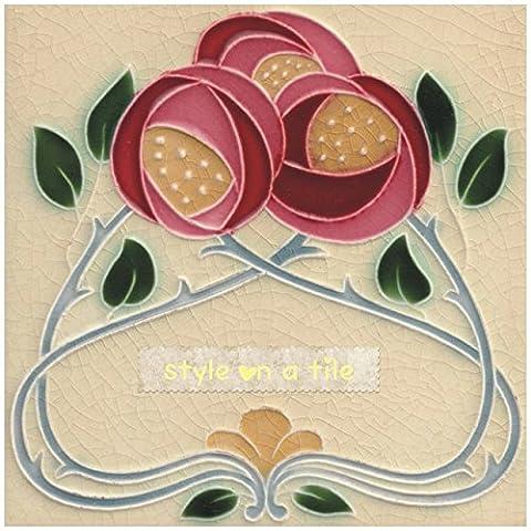 Beautiful Art Nouveau Rennie Mackintosh Rose Red Pink Flower 8