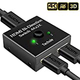 Conmutador HDMI, Techole Divisor HDMI Bidireccional 2 Entradas a 1 Salida o Switch 1 in a 2 out, Soporta 4K 3D 1080P, HDCP Passthrough-Hdmi Conmutador Para HDTV / Reproductor de Blu-Ray / DVD / PS4 / Xbox y más