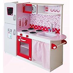 Cocina Grande y Brillante De Lujo Royal Cocina Madera Infantil Cocina de Juguete Accesorios Para Niñas Niños Juego de Imitación Microonda Rosa