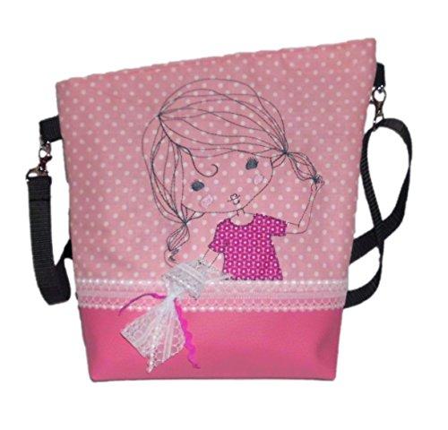 pinkeSterne ☆ Handtasche Umhängetasche Schultertasche Kunstleder Handmade Bestickt Stickerei Handmade Pink Rosa Mädchen Schleife Spitze (Bestickte Rosa Handtasche)