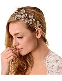 Topwedding Formado mariposa boda diadema nupcial de cristal granos del accesorio del pelo de la novia Clips