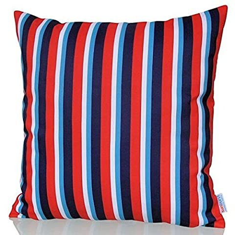 Sunburst Outdoor Living 45cm x 45cm EXCEL Red-Blue Striped Decorative Throw Pillow Cushion Cover for Couch, Bed, Sofa or Patio - Only Case, No Insert