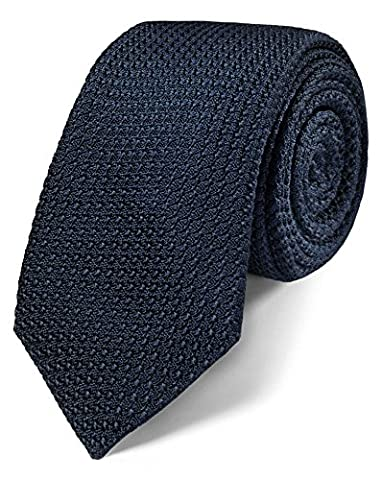 Navy Silk Luxury Italian Grenadine Plain Slim Tie by Charles