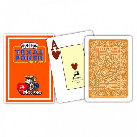 """MODIANO """"Texas Poker Hold´em"""" - 100% Plastik Kartenspiel, 2 Pips / Eckzeichen im Jumbo Index, orange"""
