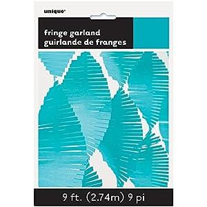 Unique Party Guirnalda de flecos de papel de seda Color azul cerceta 274 cm 63640