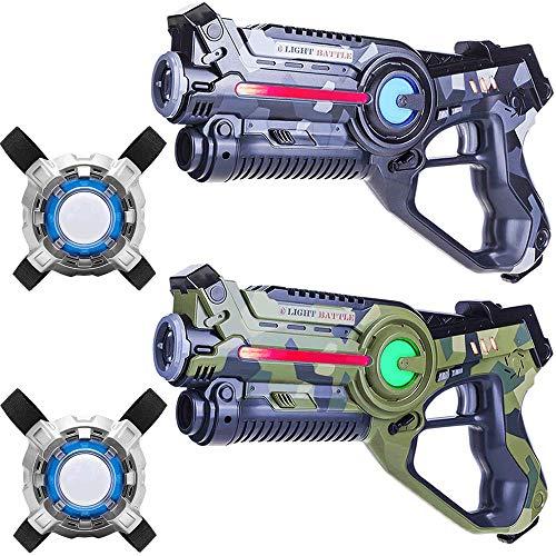 Light Battle Active Lasertag Set - 2X laserpistole (camo grün, camo grau) + 2 Weste - LBAPV22256 -