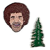 ARBEITSLOS Philosophen Guild Bob Ross und Happy Tree Emaille Pin Set – 2 Einzigartige Farbige Metall Pins