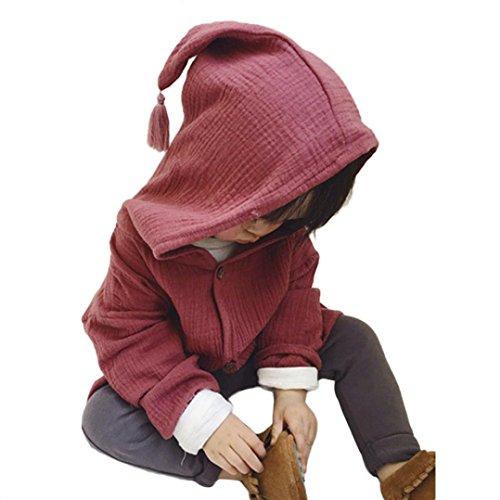 Amuster Amuster Kleinkind Kinder Unisex Baby Junge Mädchen Mantel mit Kapuze Hooded Sweatshirt Strickjacke Pullover Outwear Trenchcoat (80, Weinrot)