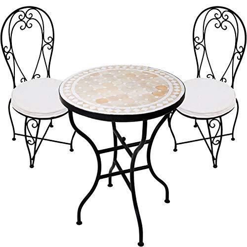 Marokkanischer Bistroset Bistrotisch mit 2 Stühlen | Balkonset 3 teilig aus Mosaiktisch rund klappbar ø 60cm Groß und Zwei Gartenstuhl aus Metall mit Stuhlkissen | Mediterrane Gartenmöbel Set