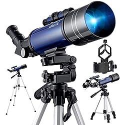 BEBANG Télescope Astronomique, Optiques En Verre Entièrement Traitées,Avec Trépied Réglable, Adaptateur Phone et 2 Oculaires