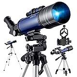 BEBANG Telescopio Astronómico, Óptica De Vidrio Totalmente Recubierta Con Adaptador Para Smartphone,Trípode Ajustable y 2 Oculares
