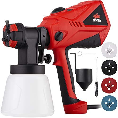 NOCRY Elektrisches Farbspritzgerät mit einstellbarem Luftstrom und Farbsteuerung mit 4 Düsen. 1000ml Schwarz und Rot