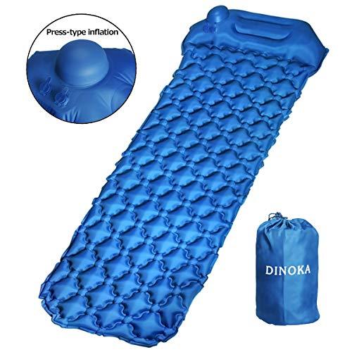 DINOKA Isomatte Camping Schlafmatte Kompressions Design Camping Schlafmatte Ultraleichte Aufblasbare Luftmatratze Schlafmatte für Camping, Reise, Outdoor, Wandern, Strand,Schwimmbad (Dark-Blue)