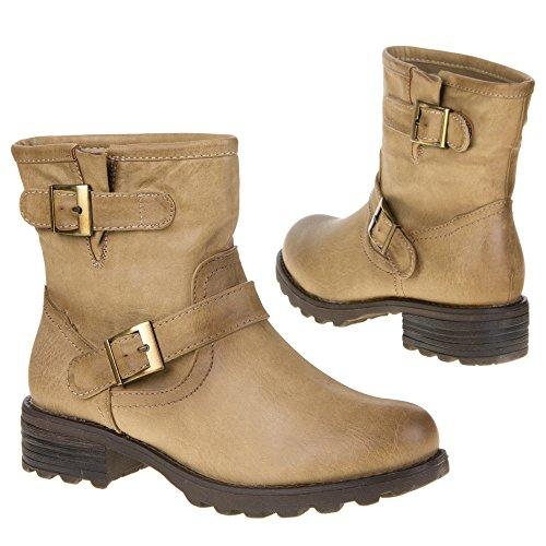 Damen Schuhe, 636-PA, STIEFELETTEN Braun Gold