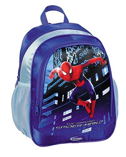 Sac à Dos Officiellement Certifiée Spiderman Marvel Comics, bleu Fonce - pour l'école maternelle