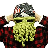 5Five Tentacle Octopus Cthulhu Knit Beanie barba maschera da sci antivento cappello Green