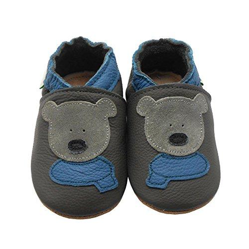 Sayoyo Bär WeichesLeder Lauflernschuhe Krabbelschuhe Babyschuhe(Grau,6-12 Monate)