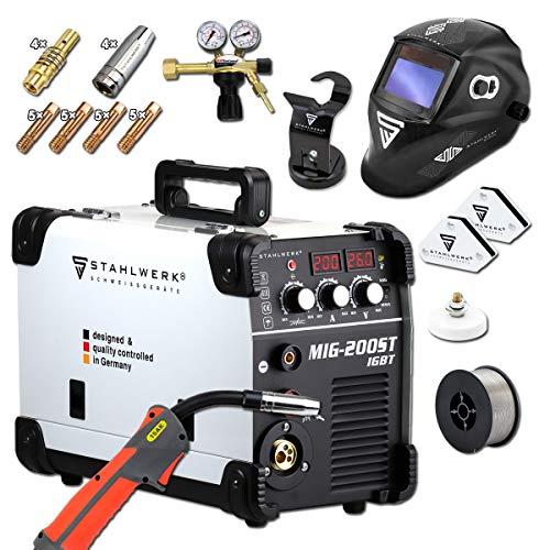 STAHLWERK MIG 200 ST IGBT- Vollaustattung - MIG MAG Schutzgas Schweißgerät mit 200 Ampere, FLUX Fülldraht geeignet, mit MMA E-Hand, weiß, 7 Jahre Garantie