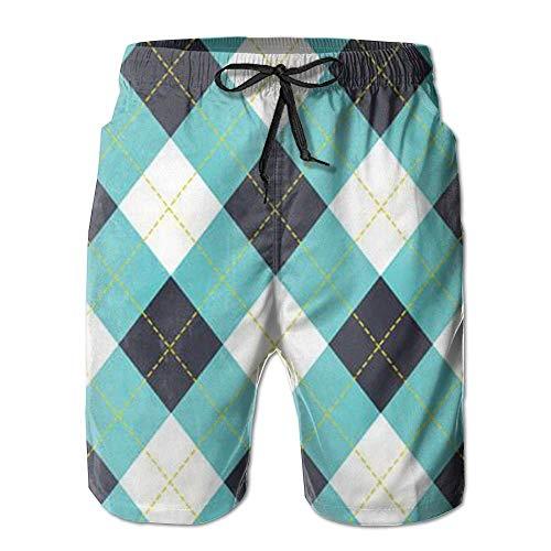 Funny&shirt Argyle Plaid Pattern Fasion Sweat Releasing Men Beach Board Shorts Gym Swim Trunk M-XXL Large - Argyle Golf Shirt