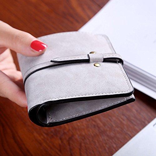 Donne Breve Portamonete Borsa Ragazze Portafoglio Card Holders Mini Frizione Purse Grigio Scuro Grigio