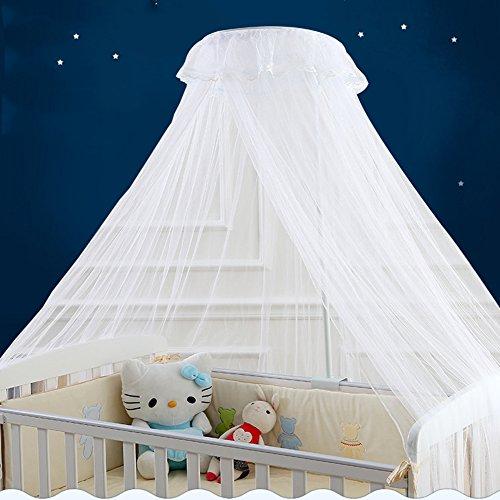 Zanzariera per lettino bambini neonato con supporto da campeggio a baldacchino della(bianco)