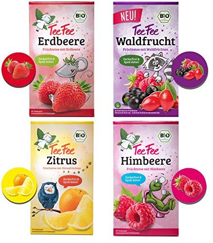 TeeFee Bio Früchtetee - Fruchtkorb - 4 fruchtige Beuteltees ohne künstliche Zusatzstoffe, 4x 20 Teebeutel