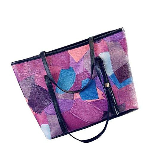 2017 Nuovo Borse donna,Kangrunmy Messenger Bag Stampato nappa Borsa a tracolla in pelle Viola