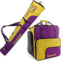BRUBAKER Conjunto 'Super Function 2.0' Bolsa para botas y Casco de ski junto a 'Carver Pro 2.0' Bolsa para un par de Ski - Púrpura / Amarillo - 170 cms.