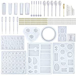 ❤Ywoow❤ Silicone Casting Molds and Tools Set Handmade Crystal Glue Mold Set DIY Crystal Glue Jewelry Mold DIY Jewelry Keychain Pendant Making 76//83//127 Pieces