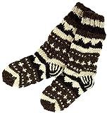 Guru-Shop Handgestrickte Schafwollsocken, Nepal Socken 42-44, Herren/Damen, Braun, Wolle, Size:One Size, Socken & Beinstulpen Alternative Bekleidung
