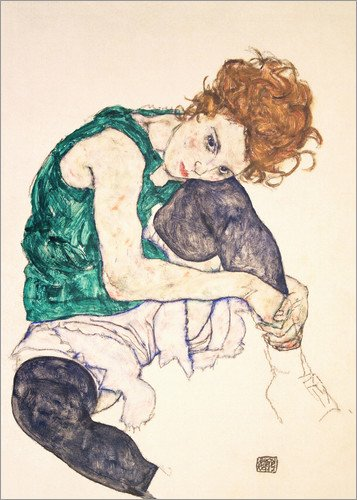 Unbekannt Poster 50 x 70 cm: Sitzende Frau mit gebeugtem Knie von Egon Schiele - hochwertiger Kunstdruck, neues Kunstposter