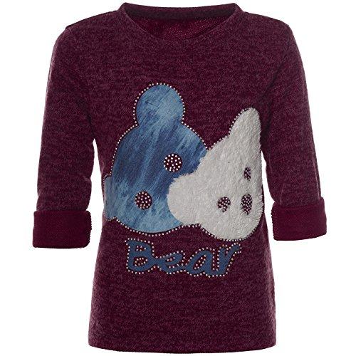 BEZLIT Mädchen Pullover Bären Motiv Langarm Sweatshirt 21581 Bordeaux Größe 164