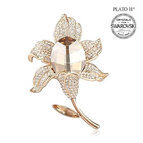Romantique Broche PLATO H Vintage Bijoux Elegant 3D Gold Rose