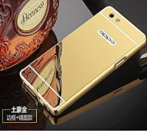 D-kandy Aluminum Metal Bumper with PC Mirror Back Cover Case For OPPO F1s - GOLD