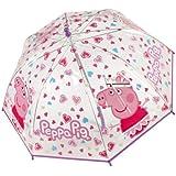 PEPPA PIG - Paraguas infantil transparente : color rosa o púrpura (Colores surtidosNo se puede elegir)