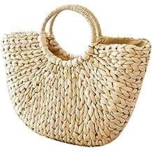 Leegoal Bolso De Paja Bolso de mujer Bolsa de paja semicircular The Semicircle Art Beach Bag