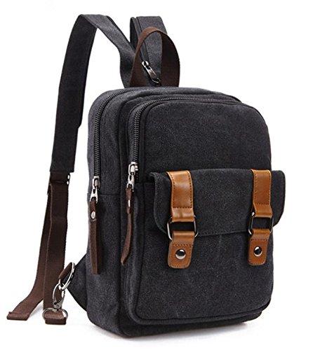 &ZHOU Borsa di tela, duplice uso multi-funzionale borsa, borsa a tracolla, uomini e donne, sacchetto esterno, sacchetto di petto di grande capacità, tempo libero piccolo zaino a tracolla , blue Black