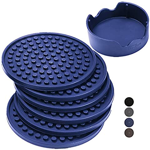 Enkore Coasters For Drinks Silicone Set of 6 In Matching Caddy, Navy Blue - For Indoor And Outdoor, Premium Quality Rubber More Furniture Friendly Than Stone, Steel, Metal, Agate, Ceramic