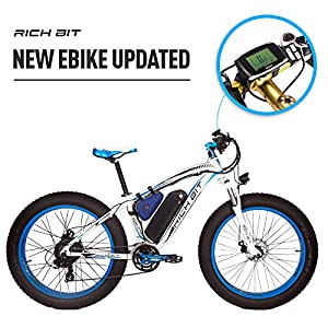 RICH BIT 1000W/48V/17AH Vélos électriques VTT 26''*4'' gros pneu 7 niveaux de pédale assistée Affichage LCD Compteur de vitesse 45-65KM lithium-ion battery Bleu