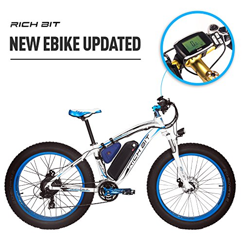 rich bit rt-022 e-bike 66 cm 4.0 fat tire Moutain Bike Moter 1000 W ad alta potenza 48 V * 17AH 21 velocità Shimano, freno a disco tachimetro blu