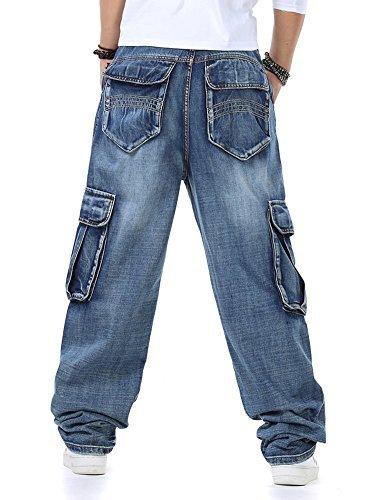 Männer Baggy Hip Hop Jeans Plus Größe 30-46 Multi Taschen Skateboard Cargo Jeans für Männer Taktische Denim Jogger Blau 30 (Denim Größe Plus)