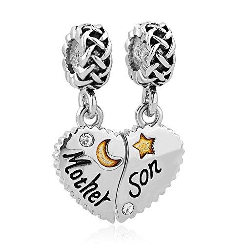 """Korliya - coppia di pendenti per braccialetti europei a forma di cuore, con scritte in lingua inglese """"mother"""" e """"daughter"""" e rame, cod. emw_dpc_my803_2"""