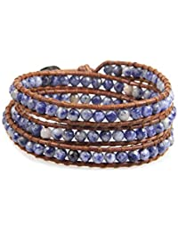 KELITCH Blau Veins Sodalith Stein Perlen Multi-strang Charme Armband Braun Leder Armbänder