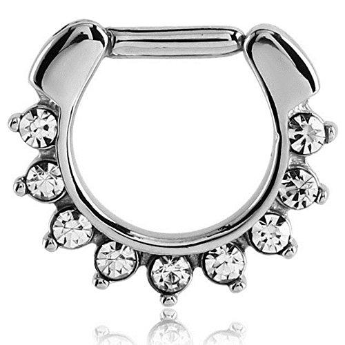 eeddoo Septum-Piercing Clicker mit Kristallen Silber Edelstahl Kristallklar