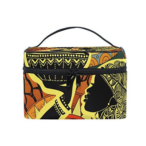 ALAZA Sac cosmétique Maquillage africain Voyage cas de stockage organisateur