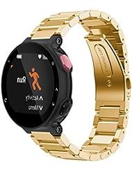 For Garmin Forerrunner 220 230 235 630 620 735,Ouneed ® Correa de la venda de reloj del acero inoxidable del metal para Garmin Forerunner 220 230 235 630 620 735 (Oro)