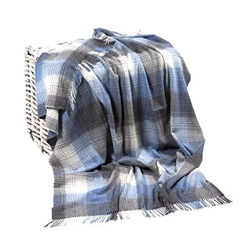 John Hanly Decke Kuscheldecke Wohndecke 100% Lammwolle grau/blau kariert Überwurf Sofa Couch Cozy (137 x 180 cm, 650) - Grau Fischgrät Wolle