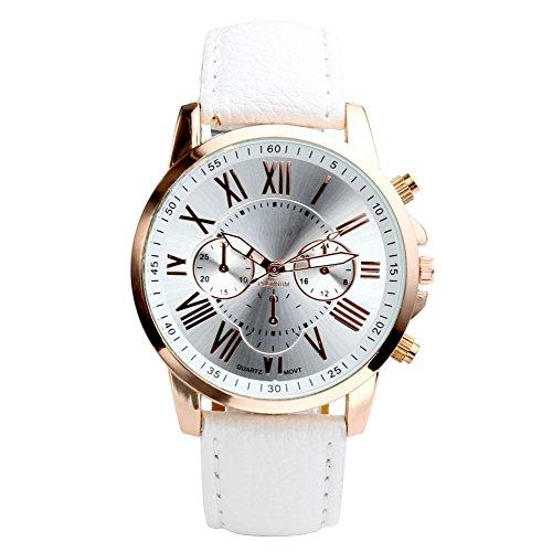 JSDDE Uhren,Damenmode Genf r?mischen Ziffern Analog Quarzuhr chrono Armbanduhr(Weiss)
