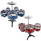 Generic.. S Drum Set New Big Band Musical Band Drum Set Rot-IDS Drum Kit Childs Play Mus Jazz Kids Blau Musical B Play Spielzeug Musik Mini Sical blau RE..
