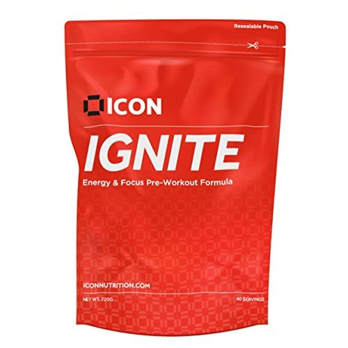 51IqP1CZxbL. SS500  - Ignite Pre Workout Powder, A Clean Energy Pre-Workout Drink with Beta Alanine, Citrulline Malate, Leucine, Caffeine, Creatine Monohydrate, Niacin and Taurine - 40 Servings (720g)